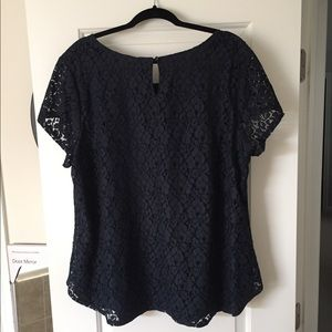 Navy lace shirt: NEW w/ tags